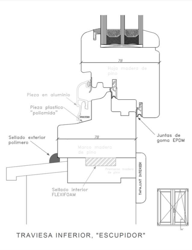 transmitancia térmica ventana Efficient 78 del catálogo de la fábrica de ventanas Carreté Ventanas en la Selva del Camp