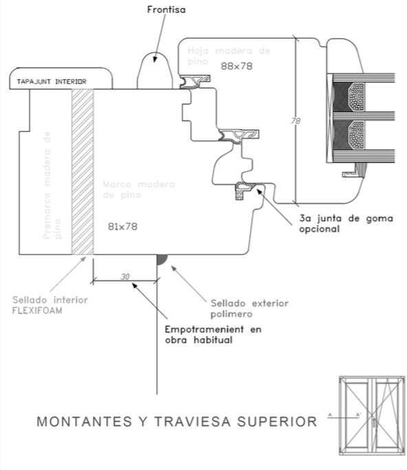 cálculo transmitancia térmica ventana Efficient 78 del catálogo de la fábrica de ventanas Carreté Ventanas en la Selva del Camp