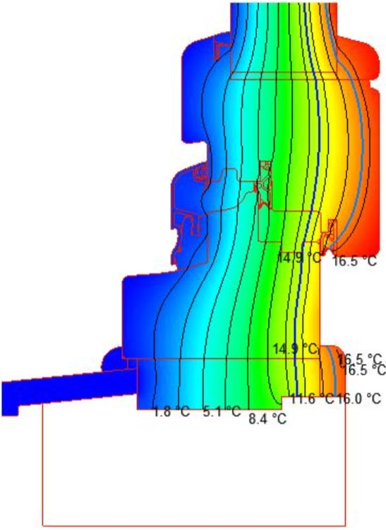 transmitancia térmica ventana Efficient 78 del catálogo de la fábrica de ventanas Carreté Finestres en la Selva del Camp-isotermas marco inferior