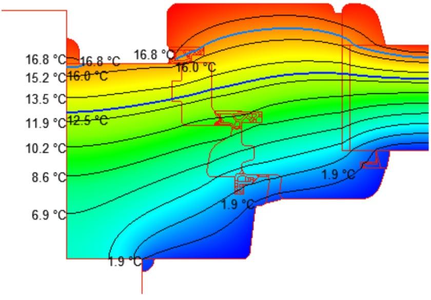 cálculo transmitancia térmica ventana Efficient 78 del catálogo de la fábrica de ventanas Carreté Finestres en la Selva del Camp-isotermas