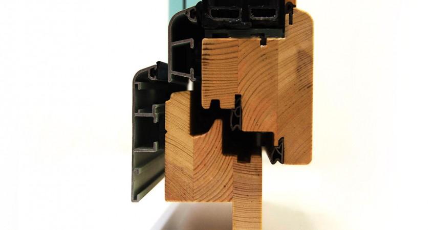 ventana mixta de madera y aluminio catálogo fabrica ventanas Carreté Finestres modelos Magma, Fenix, Flat Mixta