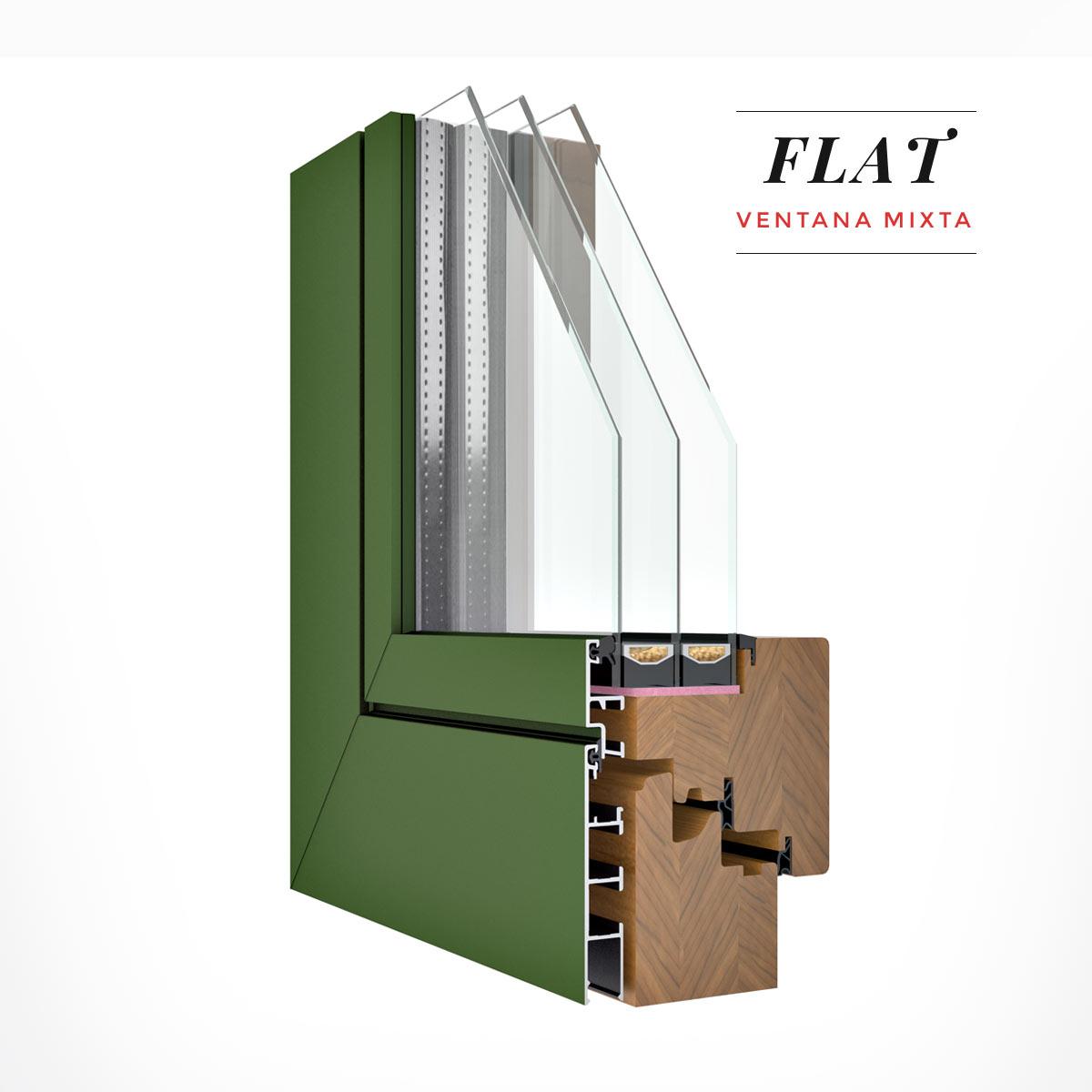 Carreté Finestres - finestra mixta Flat de fusta i alumini amb triple junta de goma