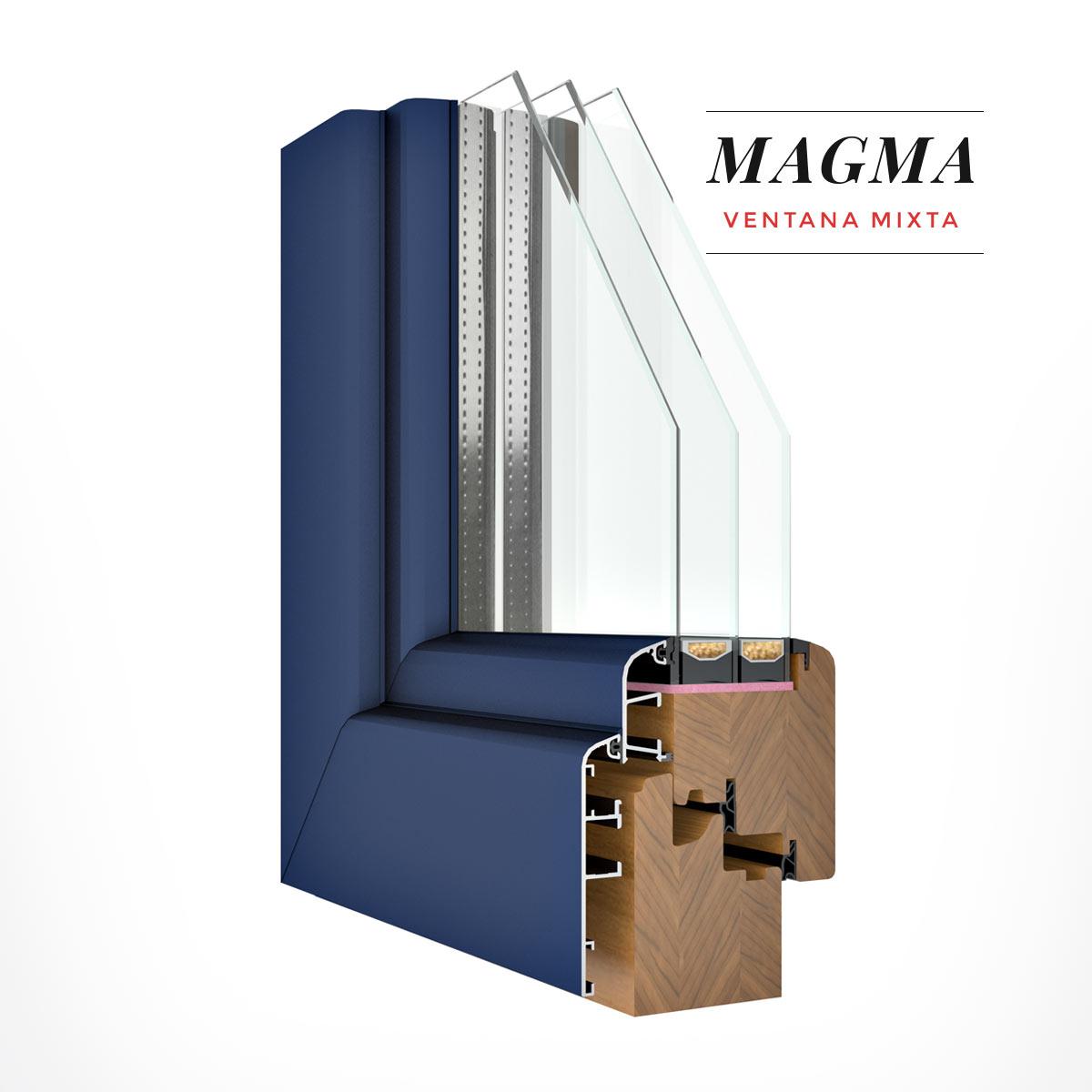Carreté Finestres - finestra de fusta i alumini de color blau - Finestres mixtes Magma