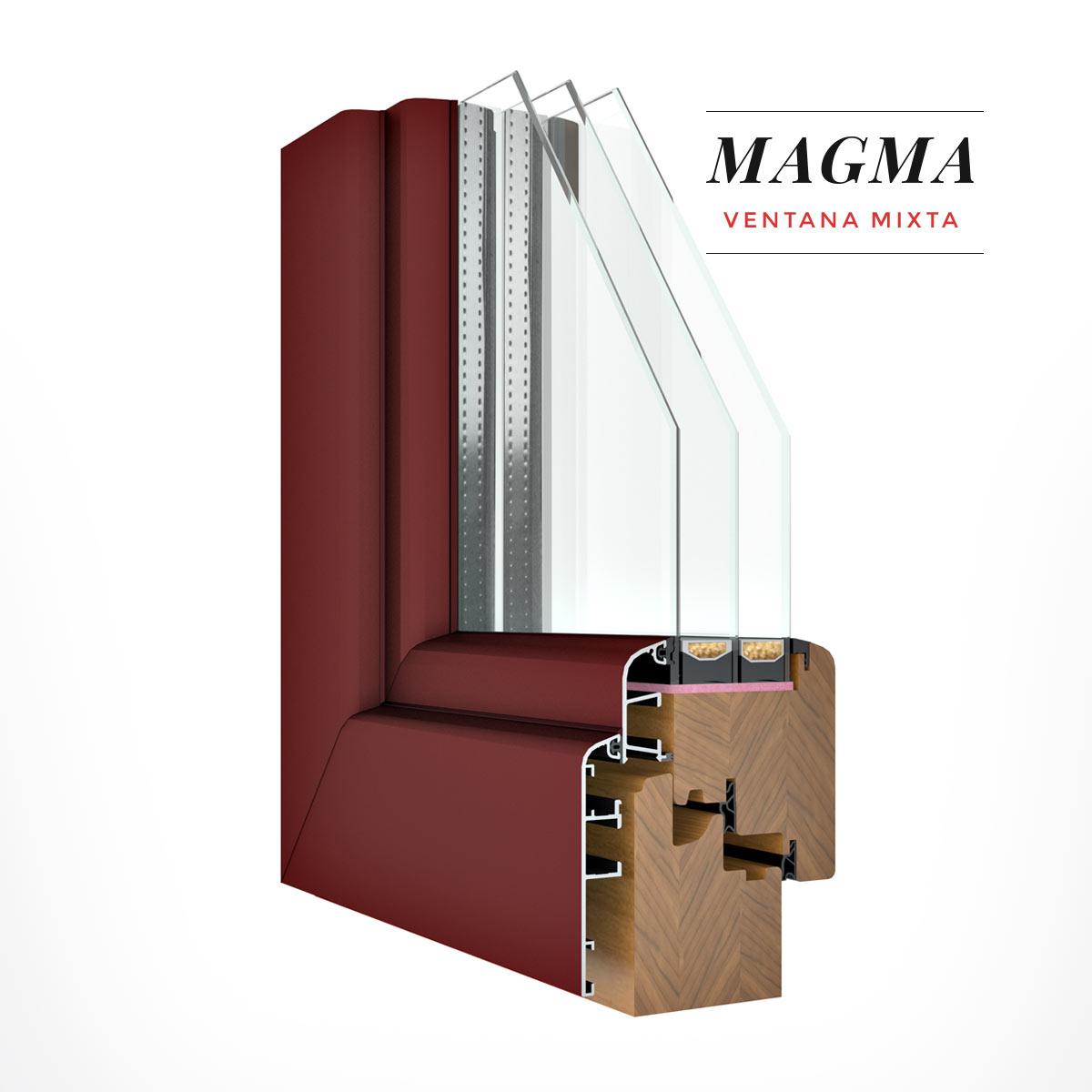 Carreté Finestres - finestra de fusta i alumini de color granat - Finestres mixtes Magma