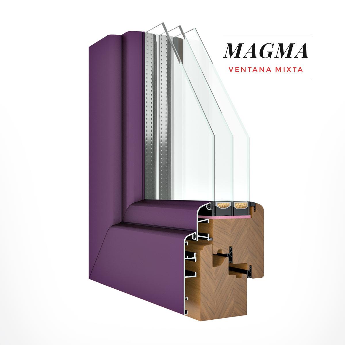 Carreté Finestres - finestra de fusta i alumini de color lila - Finestres mixtes Magma