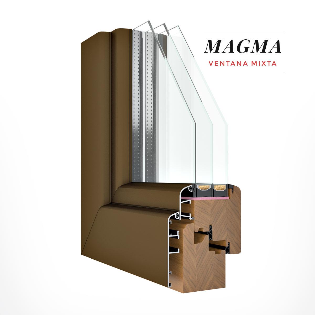 Carreté Finestres - finestra de fusta i alumini de color marró - Finestres mixtes Magma
