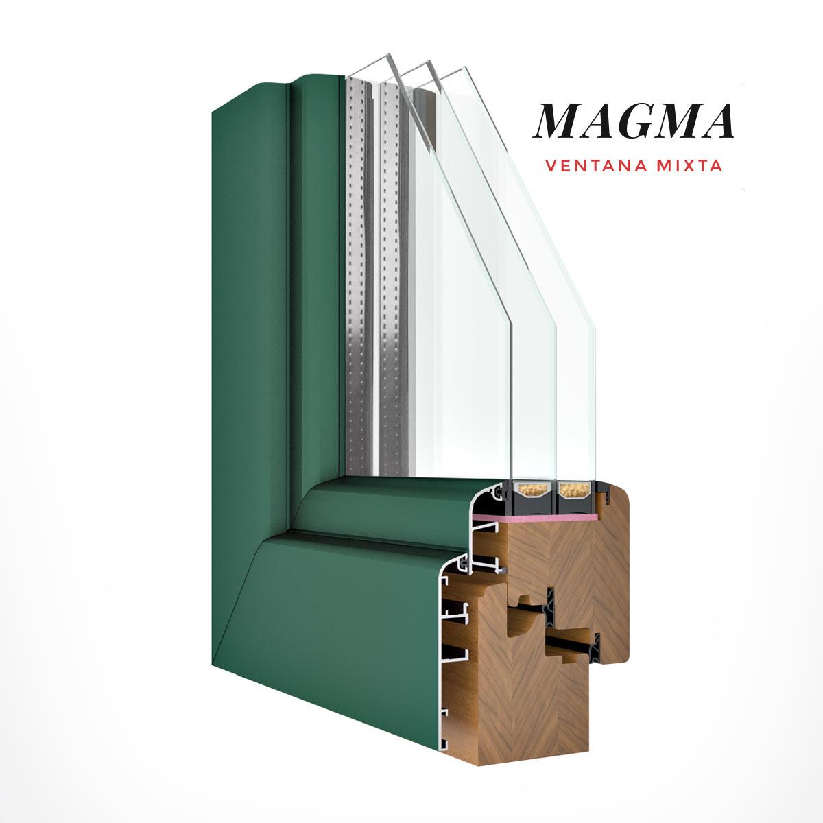 Carreté Finestres - finestra de fusta i alumini de color turquesa- Finestres mixtes Magma