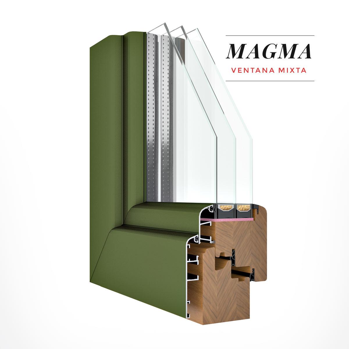 Carreté Finestres - finestra de fusta i alumini de color verd - Finestres mixtes Magma