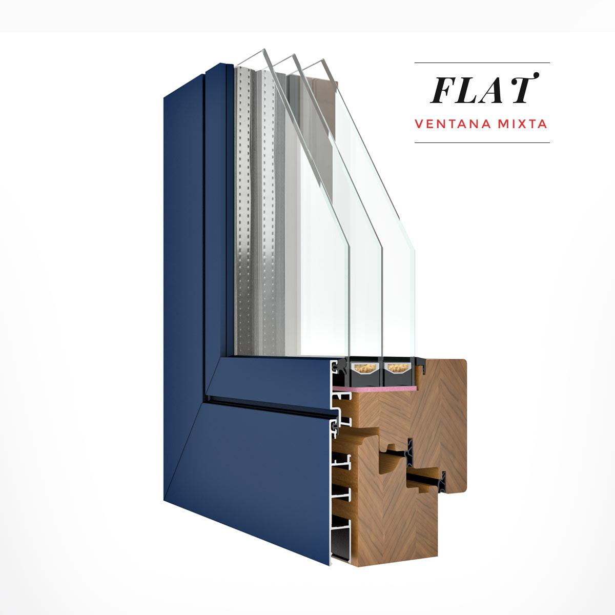 Carreté Finestres - finestra de fusta de pi i alumini exterior Flat mixta