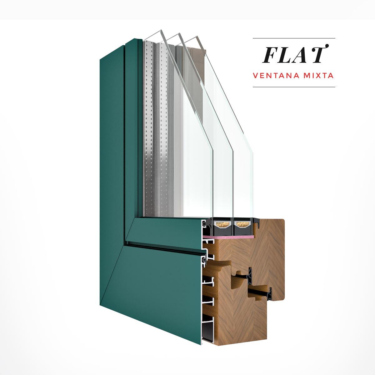 Carreté Finestres - finestres mixtes de fusta i alumini de la sèrie Flat