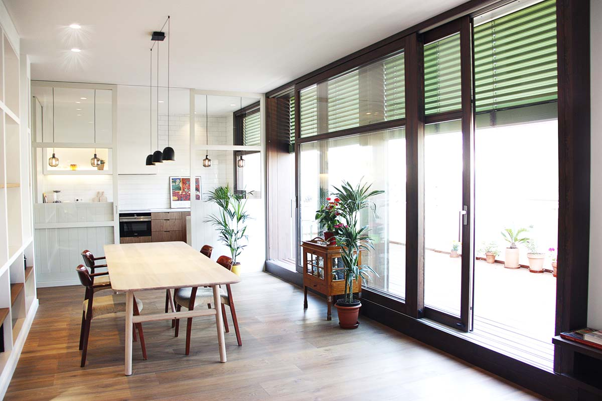 ventana corredera de madera en Barcelona - Carreté Finestres